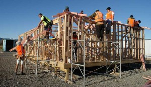 Trainee builders working on the Little Greenie House in Otaki.
