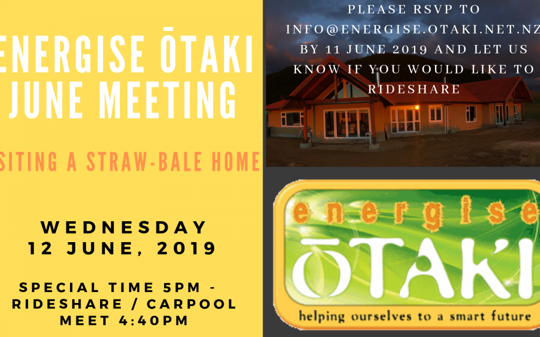 Energise Ōtaki Community Meeting: Wednesday June 12th, 2019 5pm