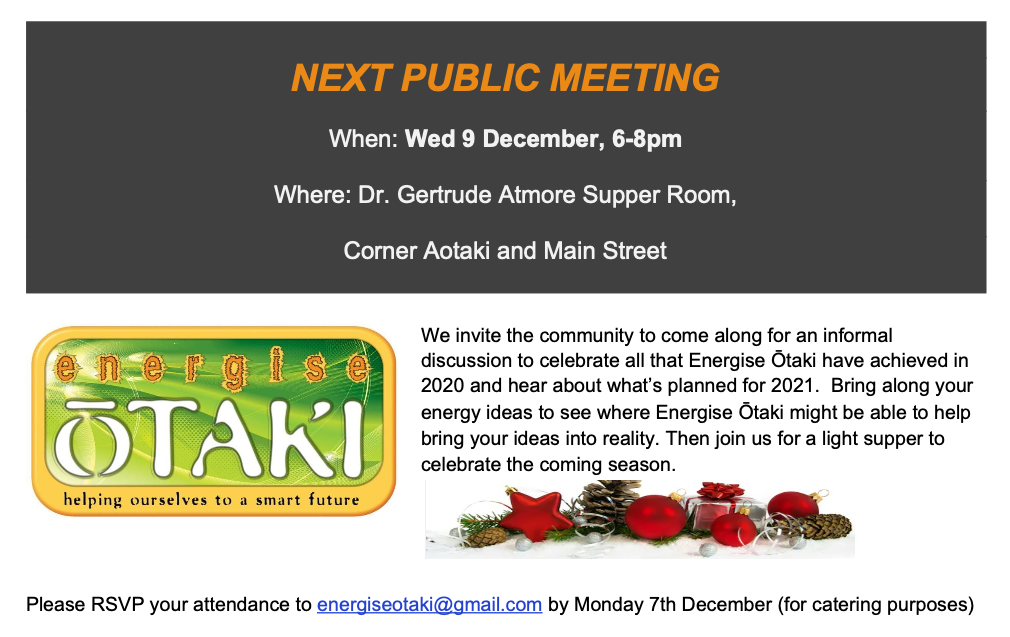 Next Public Meeting – 9th December 2020